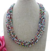 S121311 21 11 Strands Multi Color Crystal Necklace CZ Pendant