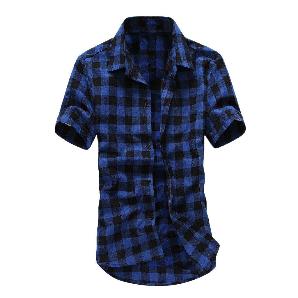 9821b2ca3f1f Πουκάμισα MUQGEW Summer 2019 Plaid Shirt Men Casual Short Sleeve Men Shirts Slim  Fit Streetwear Classic Camisa Male