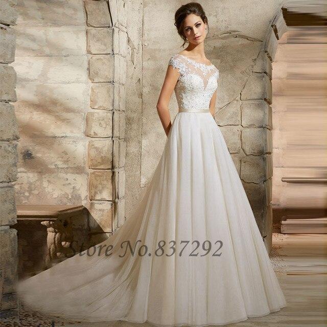 Vestido De Noiva White Lace Wedding Dress 2016 A Line Bride Dresses Cap Sleeve Lique Backless
