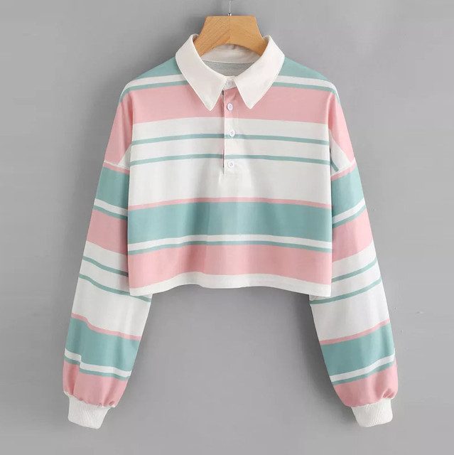 Us 9 68 28 Off Fashion Autumn Womens Casual Drop Shoulder Striped Long Lantern Sleeve Crop Top Turn Down Collar Casual Ladies Polo Shirt In Polo