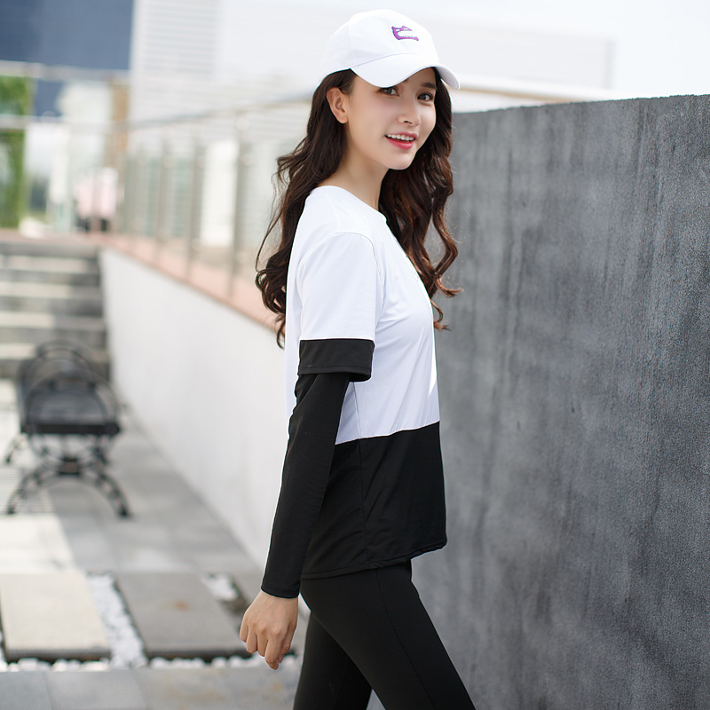 2018 las nuevas mujeres Yoga conjunto sólido deporte trajes de manga larga Fitness transpirable camiseta de Yoga deportes sujetador corto corriendo pantalones 4 piezas - 6