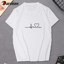 ECG printed t shirt Women Summer Short Sleeve white Ladies tops Fashion Heart Embroidery Print Tshirt Female