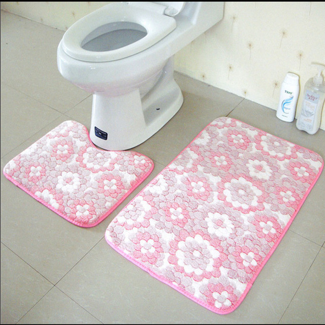 2Pcs/Set Anti Slip Bathroom Mat Set Coral Fleece Floor Bath Mats Washable  Bathroom Toilet