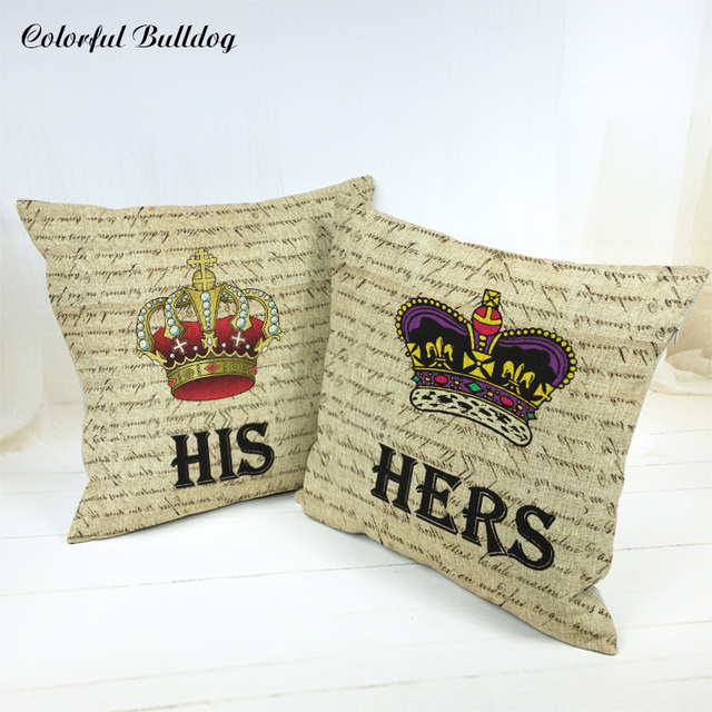 Custom Printed San Valentin Gift Crown Vintage King Queen Cushion Cover Diamond Geometry Small Linen Home