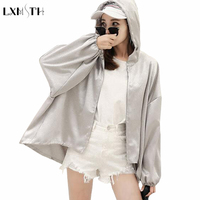 Fashion Silver Jacket Woman 2019 Summer Casual Slim Solid Harajuku Jacket Low High Coat Womens Sun Protection Clothing Outerwear