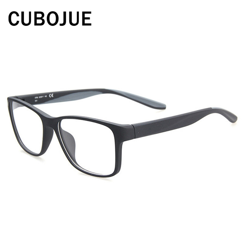 452510f4507 Cubojue TR90 Eyeglasses Men Women Large Face Glasses Frame for Man s  Spectacles Optical Clear Lens Case Free Myopia Prescription-in Eyewear  Frames from ...