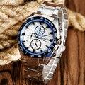 Círculo Azul Dial Design de luxo Relógios de Quartzo Completa Aço Analógico Steampunk Militar Esportes Dos Homens relógios de Pulso Relogio feminino