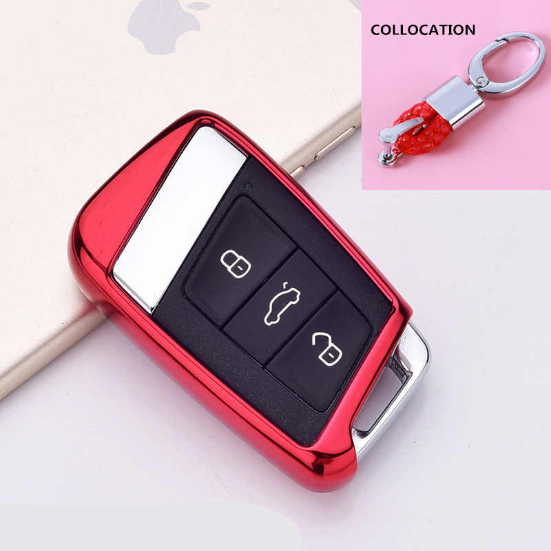 Multicolor Wear resistant New Soft TPU Protection Remote Key Cover Case For Skoda Superb A7 For VW Golf Passat B8 keychain 2019