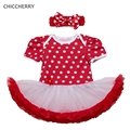 2017 Polka Dots Red Lace Petti Rompers Baby Girl Dresses Headband Vestido Bebe Fantasia Infantil Menina Children's Wedding Dress