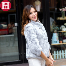 Lady 100 Real Rex Rabbit Fur Jacket 2019 Real Natural Rex Rabbit Fur Coat Women Low Sale Quality Real Rex Rabbit Fur Outerwear cheap REGULAR Double-faced Fur Natural Color Turn-down Collar Real Fur YH506 Three Quarter Covered Button Solid Short Casual Wide-waisted