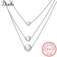 DODO Dazzle Noble Multilayer Beads Chain Romantic Link Chain 925 Sterling Silver Necklace Freshwater Pearl Necklaces