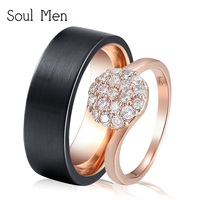 Soul Men Romantic Wedding Rings For Lover Rose Gold Color Tungsten Couple Rings For Men CZ Stone Party Jewelry for Women
