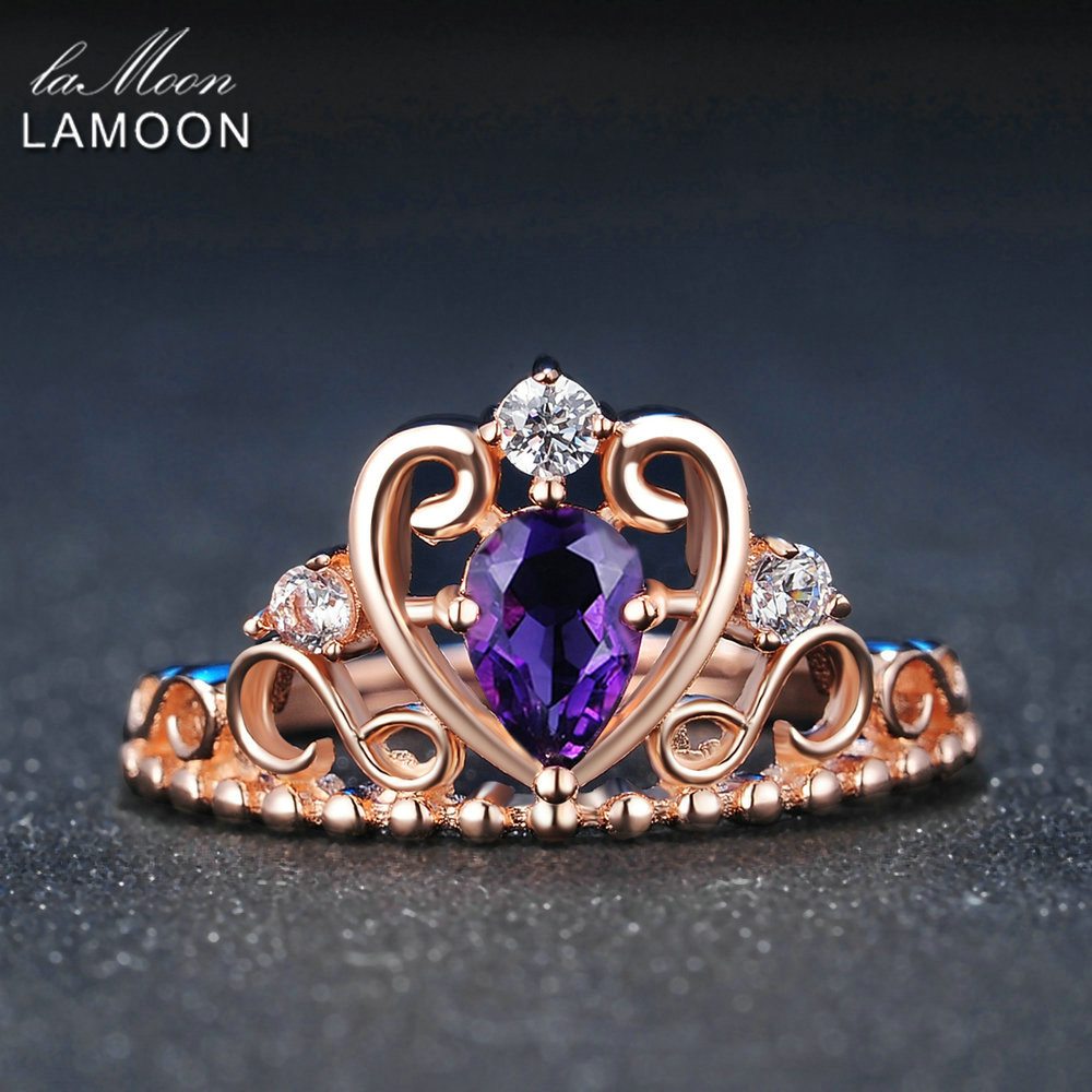 LAMOON Crown Natural Teardrop Amethyst 925 Sterling Silver
