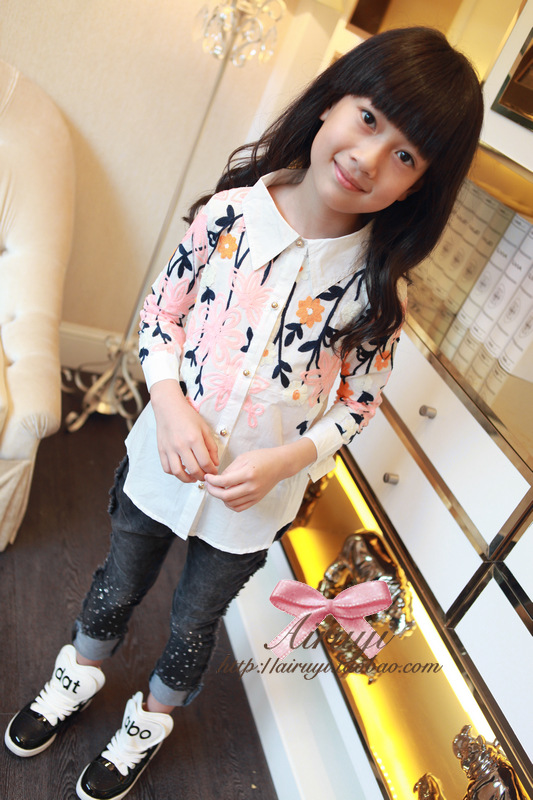 Girls Spring Autumn Children New Kids Embroidered Large Lapel Long Sleeved Shirt Original Europe Clothing Cotton White Black