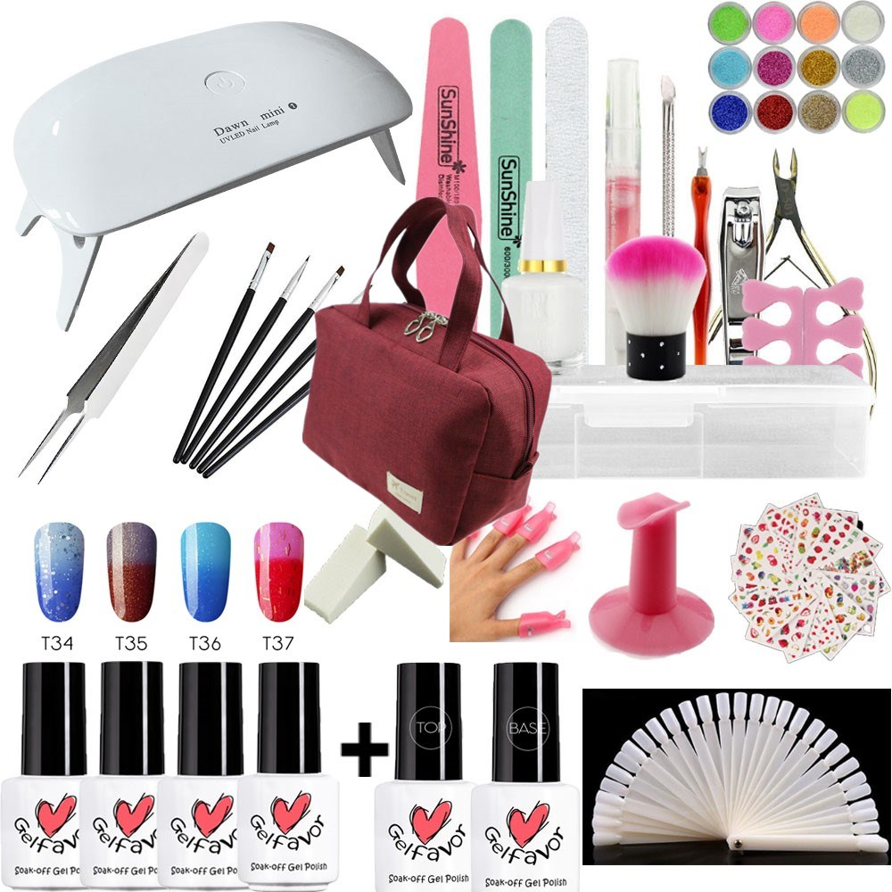 UV LED Nail Lamp Manicure Set thermo change UV Gel Polish Nail Kit Manicure Pedicure Set with Storage Bag Gel Nail Art Tools Kit nail cutters set with bag