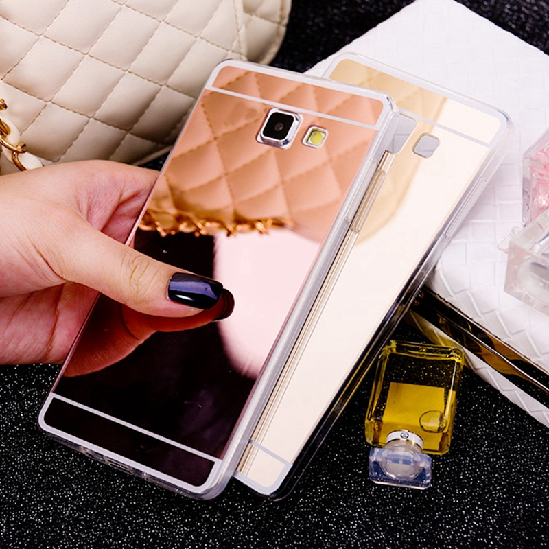 Gold Mirror Soft Back Shell Cover For <font><b>Samsung</b></font> <font><b>Galaxy</b></font> J1 J2 A3 A5 A7 J3 J5 J7 2015 <font><b>2016</b></font> 2017 Grand Prime J5 J7 Prime <font><b>Case</b></font> image