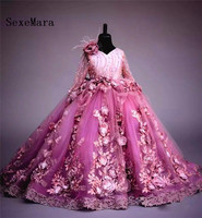 New Luxury 3D Flowers Childrens Wedding Clothes Flower Girls Dresses for Wedding Princess Party Dress Long Sleeves Custom Made
