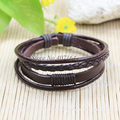 SF122-Jewelry Items Multilayers Brown braided Genuine Leather Bracelete Men Wristband For Women Pulseira Masculina Feminina