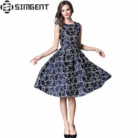 Simgent Woman Sleeveless Dress A Line Floral Jacquard Vintage Elegant Bodycon Party Tank Summer Sundress Vestidos
