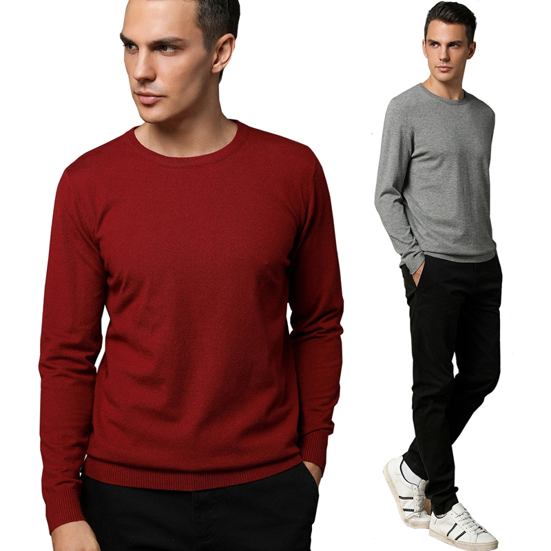 Knitted Pullover Men Business Wool Sweater 2019 New Autumn Winter Men's Solid Color Casual Round Collar Sweaters Cotton Jumper