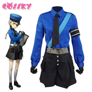 Persona 5 Cosplay Justin Costume Girl's Suit School Uniform Party Suits with Hat Full Set Halloween Christmas Costume for Woman