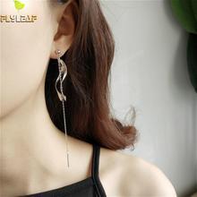 100% 925 Sterling Silver Flyleaf Wave Rotation Asymmetry Drop Tassel Long Earrings For Women Dangle Earings Fashion Jewelry