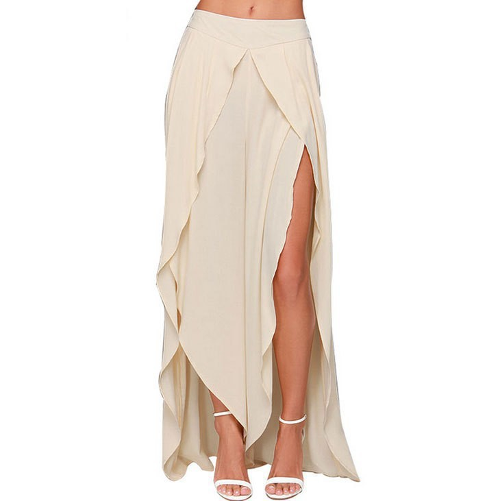 c9d527c877 Womens Summer Style Plus Size XXS-8XL Sexy High Slit Long Skirt Irregular  asymmetrical Split Maxi Chiffon Skirts Saias Longue