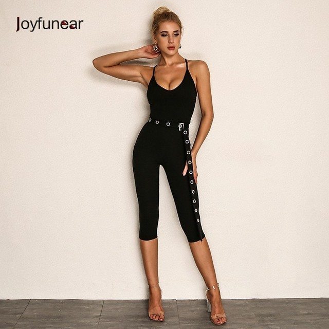 10199724820 Joyfunear Pinup Autumn knitting V Neck Jumpsuit 2018 Solid Backless Cotton  Bodycon Summer Jumpsuits Women Sexy Bodysuit Overalls