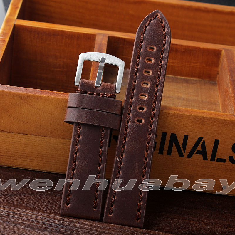 Durable men Genuine Leather watch strap for men 22 mm Cow genuine leather Watch Band Vintage Bands Stainless Steel Buckle