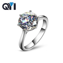 QYI Halo Rings For Women 4 Carat Solitaire Wedding Rings 925 Silver Round Cut Zirconia Rings Engagement
