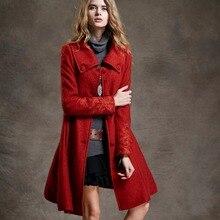 女性の秋コートブランドウールのコートの女性赤ロングコートの女性ヴィンテージ刺繍の女性の冬のジャケット Artka 2018 FA10240Q