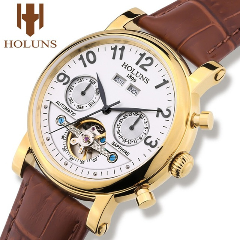 Mechanical Watch Gold Tourbillon Mens Watches HOLUNS Top Brand Luxury Leather Strap Business Waterproof Relogio Masculino