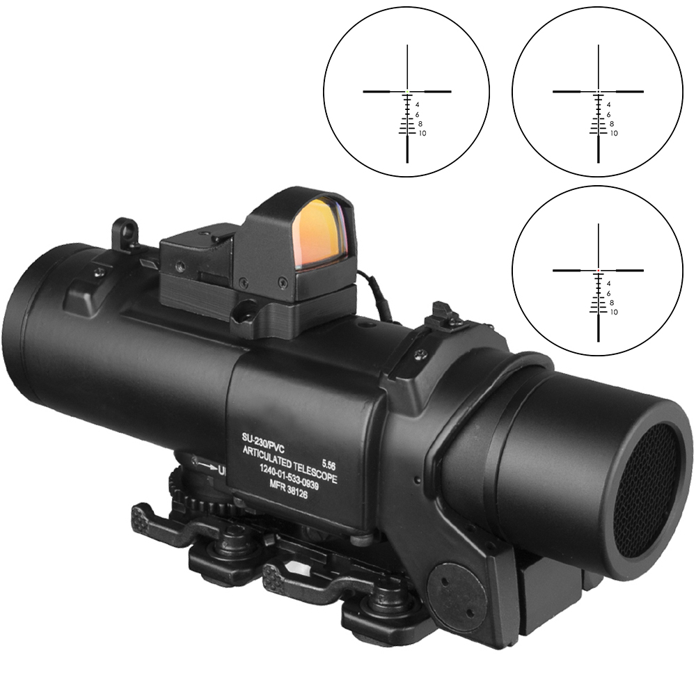 Combination 1X-4X Sight Rifle Dual Role Optic Scope Airsoft Magnificate Tactical  Scope Hunting Scopes Red Dot Ak 47 Riflescope