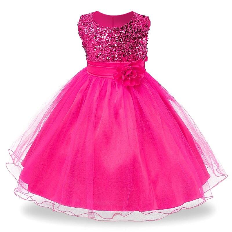3-14yrs Heißer Verkauf Baby Mädchen Blume pailletten Kleid Hohe qualität Partei Prinzessin Kleid Kinder kinder kleidung 9 farben
