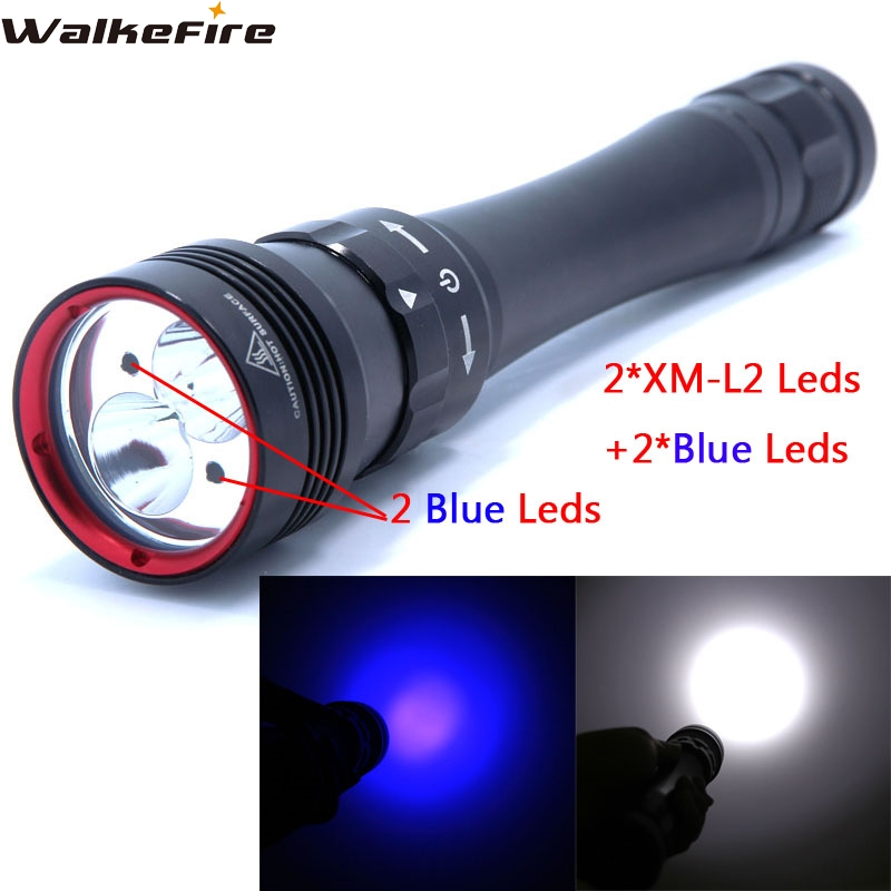 6000LM 2 * XM L2 + 2* Blue Leds Waterproof Underwater 80 Meter LED Diving Flashlight Torch Lamp Light Lanterna
