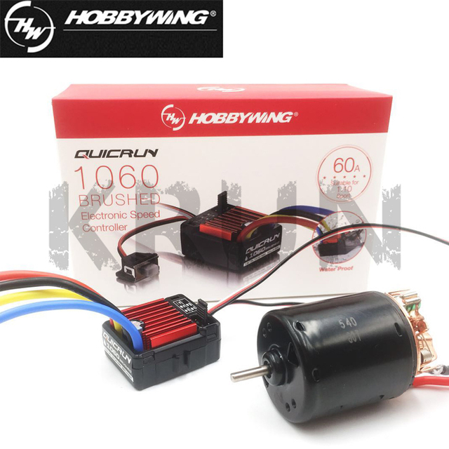 US $28 99 |540 80T Brushed Motor with QuicRun 1060 60A ESC Combo for 1/10  Axial SCX10 RC4WD D90 RC Crawler Car-in Parts & Accessories from Toys &