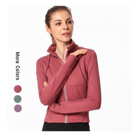 Nepoagym sport top stand collar slim workout coat gym fitness zipper running jacket yoga shirts sports jacket female T shirt