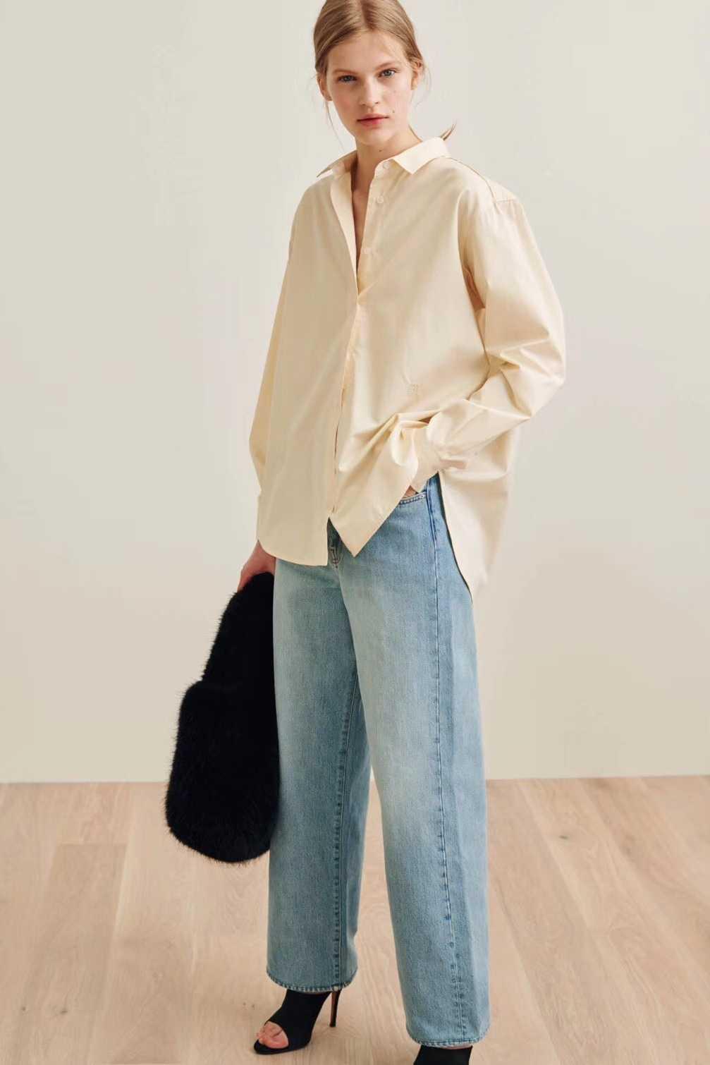 Лето 2019 г. гусь желтый солнцезащитный Лонгслив тонкий confort минималистский Прохладный классический скандинавском стиле силуэт блузка