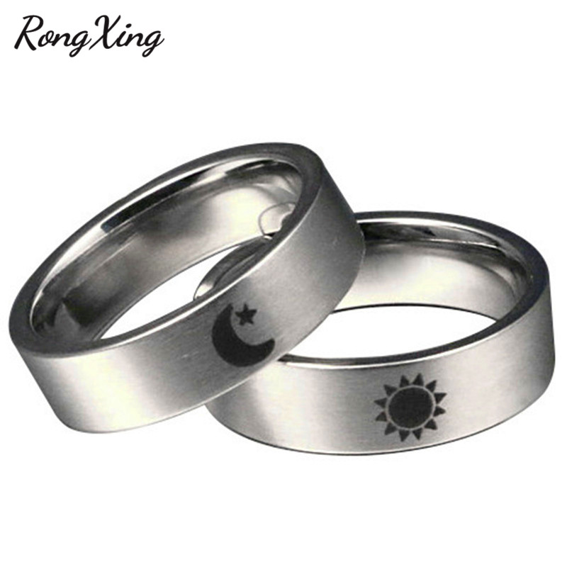 Us 299 40 Offrongxing High Polish Stainless Steel Star Sun Moon Couples Rings For Women Men Round Game Of Thrones Power Symbol Lovers Jewelry In