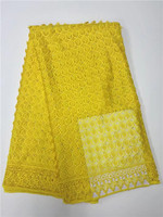 New Arrival high quality african mesh lace fabric/ embroidered 3d lace fabric with stones for wedding dresses Yellow