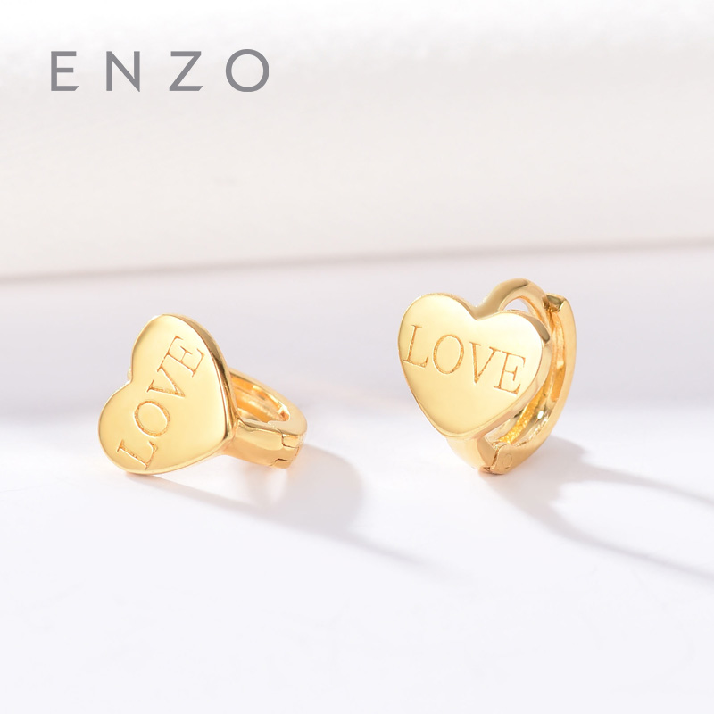 Enzo Real 18K Gold Earring Heart Jewelry Women Miss Girls Gift Party Female LOVE Clip Earrings Solid Hot Sale New Good Trendy real 18k gold jewelry heart earring women miss girls gift party female ear wire drop earrings solid hot sale new good trendy
