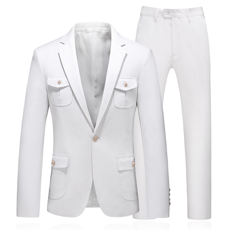PAULKONTE 2019 New White Classic Men 39 s Suit High Quality Gentleman Wedding Host Party Elegant Luxury Two Piece Men Suit in Suits from Men 39 s Clothing
