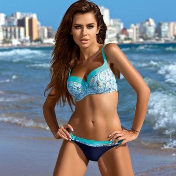 2018 Sexy Push Up Bikini Women Swimsuit Plus Size Swimwear Print Patchwork Bikini Set Bathing Suit Beach Wear Swimming Suit 1