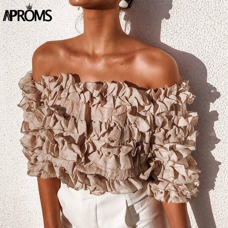 Aproms Elegant Off Shoulder Ruffle Crop   Top   Women Summer Pink White Elastic Cotton   Tank     Tops   90s Cool Girls Streetwear Tees
