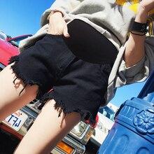 Летние модные джинсовые шорты для беременных, для талии, живота, эластичная джинсовая одежда для беременных женщин, популярные винтажные шорты для беременных