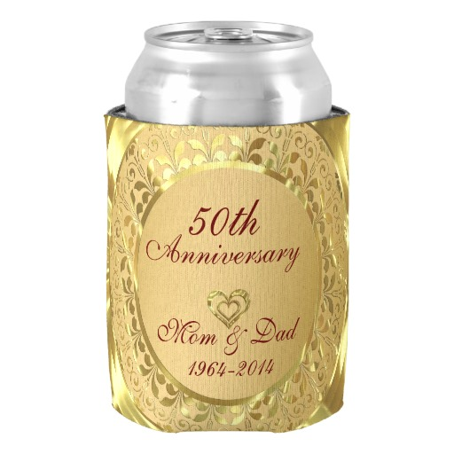 Sparkling Gold 50th Wedding Anniversary Can Cooler Anniversary ...