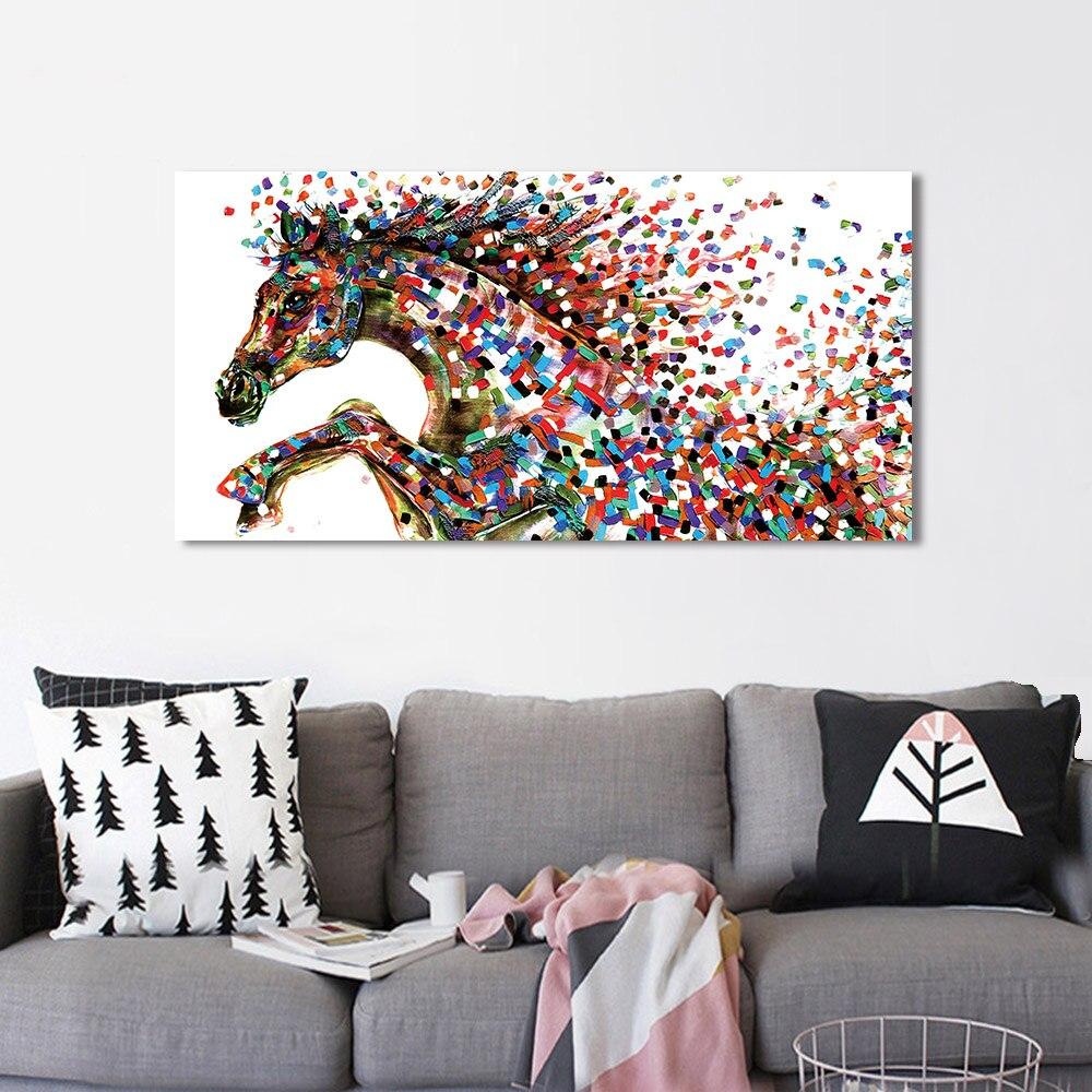 AAVV-toile dart murale imprimé Animal | Tableau de cheval pour salon, décor de la maison, sans cadre