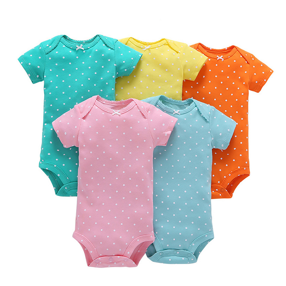 5 Pcs/Lot Baby Rompers 100% Cotton Short Sleeve Stitch Onesie Rompers Newborns Body Clothes Baby Girl Clothes Summer Baby Romper