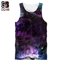 OGKB 2018 Sommer Tops Männer Frauen 3d Tank Top Drucken Bunte Galaxy Raum Weste Mann Bodybuilding Hiphop Punk tanktop 5XL(China)