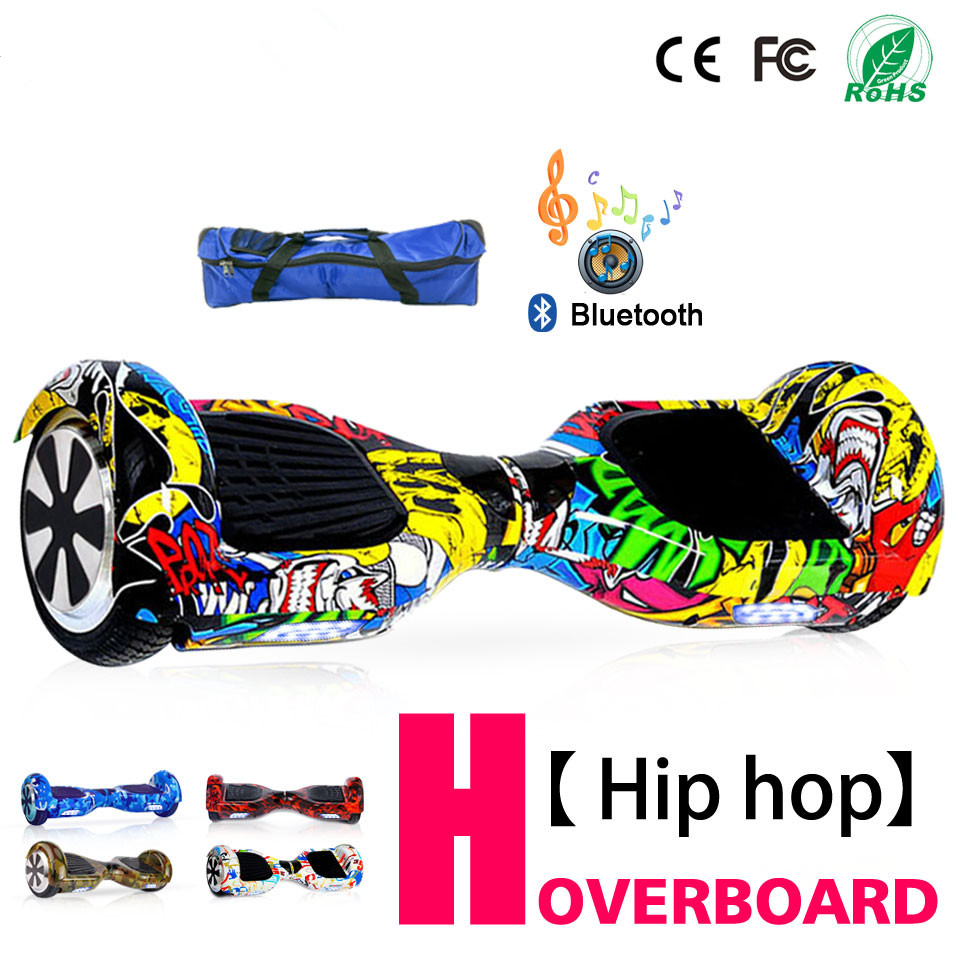 6.5 Inch Hoverboard Self Balancing Electric Scooter Electric Skateboard Smart Balance Board with Bluetooth Bag Remote Controller 2017 new 4 wheels electric skateboard scooter 600w with bluetooth remote controller replaceable dual hub motor 30km h for adults